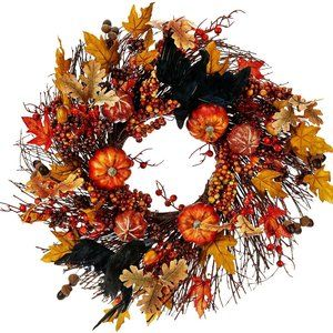 """19"""" Wreath with Leaves, Pumpkins and Crows"""